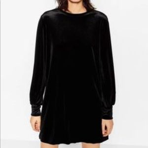 Zara Straight Black Velvet Dress